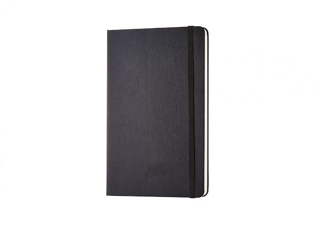 Czarna okładka pamiętnika na białym tle
