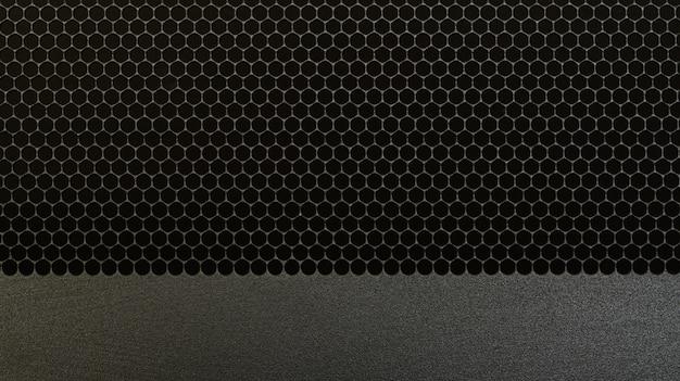 Czarna perforowana metalowa kratka głośnika czarna stalowa siatka metalowa tekstura tła koło dziura
