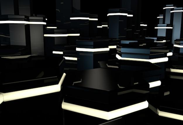 Czarna powierzchnia 3d ze świecącymi sześciokątnymi kamiennymi kolumnami