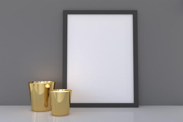 Czarna pusta makieta ramki ze złotą świecą