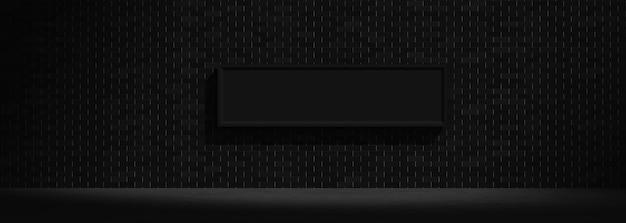 Czarna ramka na ścianie z cegły, ciemne tło abstrakcyjne, obraz renderowania 3d