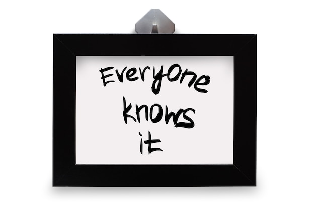 Czarna ramka na zdjęcia. napis wszyscy to znają. na białym tle