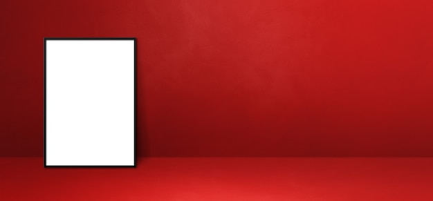 Czarna ramka na zdjęcia oparta na czerwonej ścianie. pusty szablon makiety. baner poziomy
