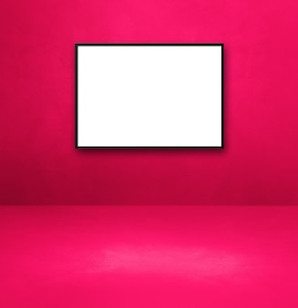 Czarna ramka na zdjęcia wisząca na różowej ścianie. pusty szablon makiety
