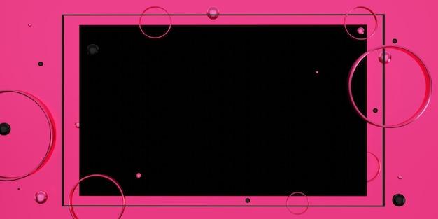 Czarna ramka tekstowa na różowym tle ozdobiona koralikami i pierścieniami ilustracja 3d