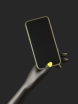 Czarna ręka trzyma telefon, na białym tle