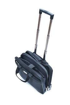 Czarna rolkowa laptop torba odizolowywająca na bielu