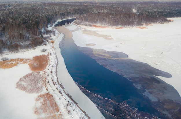 Czarna rzeka wpływa zimą do zatoki fińskiej w rezerwacie przyrody gladyshevsky w obwodzie leningradzkim w sankt petersburgu. widok z lotu ptaka i drona