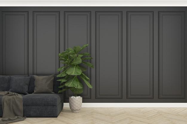 Czarna ściana z drewnianą podłogą i betonowymi skrzypcami