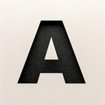 Czarna skórzana czcionka, abstrakcyjna czcionka alfabetu, realistyczna typografia - a
