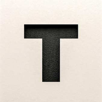 Czarna skórzana czcionka, abstrakcyjna czcionka alfabetu, realistyczna typografia - t