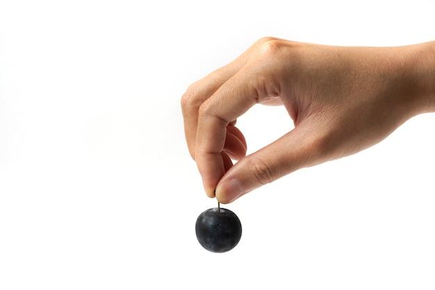 Czarna śliwka wiśniowa wyjęta z łodygi