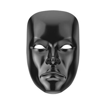 Czarna smutna dramatyczna maska teatralna groteskowa na białym tle. renderowanie 3d