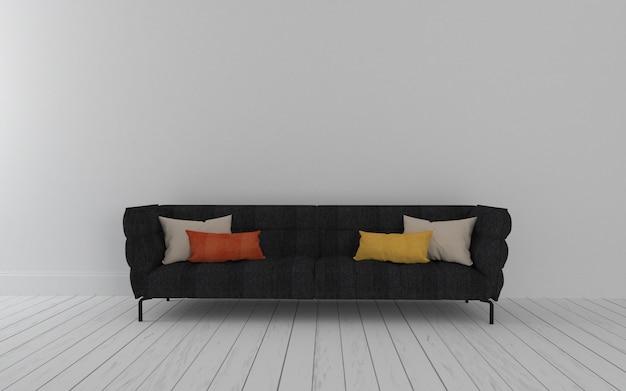 Czarna sofa wnętrza nowoczesnego salonu