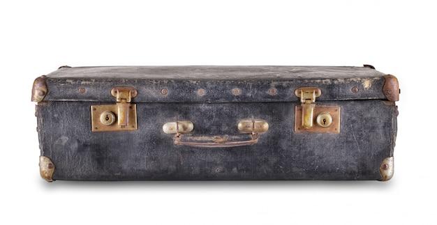 Czarna stara leżąca walizka