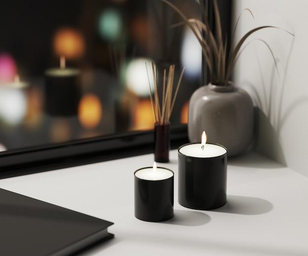 Czarna świeca zapachowa z dyfuzorem z trzciny aromatycznej i wazonem z blured nocnymi światłami miejskimi na stole, domowe świece aromatyczne, aromaterapia, renderowanie 3d
