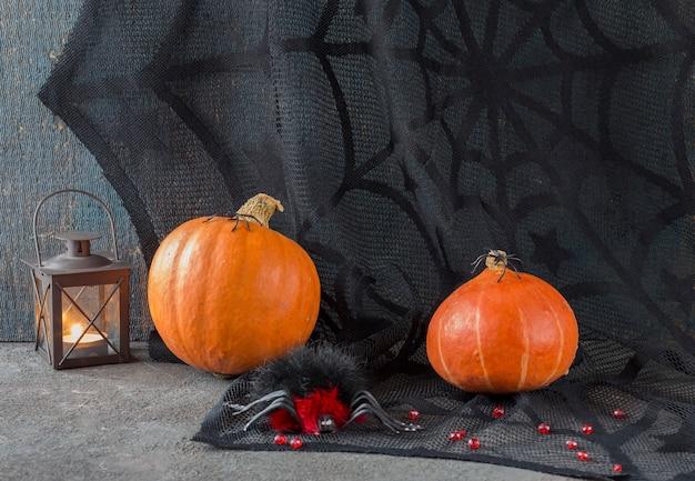 Czarna tkanina, dwie dynie, trzy pająki i czarny kot