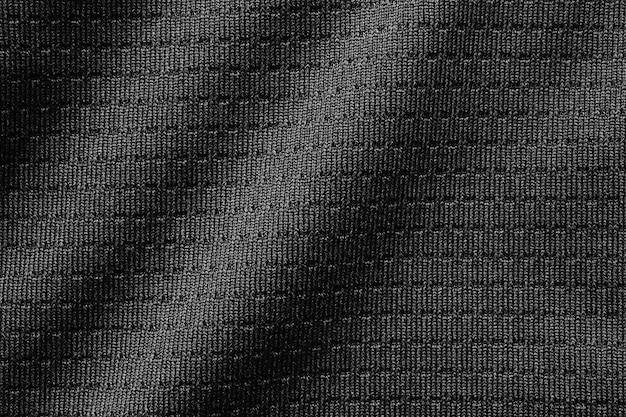 Czarna tkanina sportowa tkanina piłkarska koszulka piłkarska tekstura z bliska