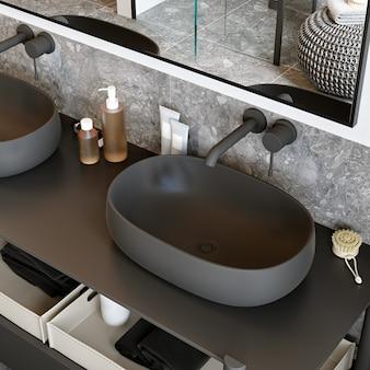Czarna umywalka we wnętrzu nowoczesnej łazienki. renderowania 3d. styl loftowy.