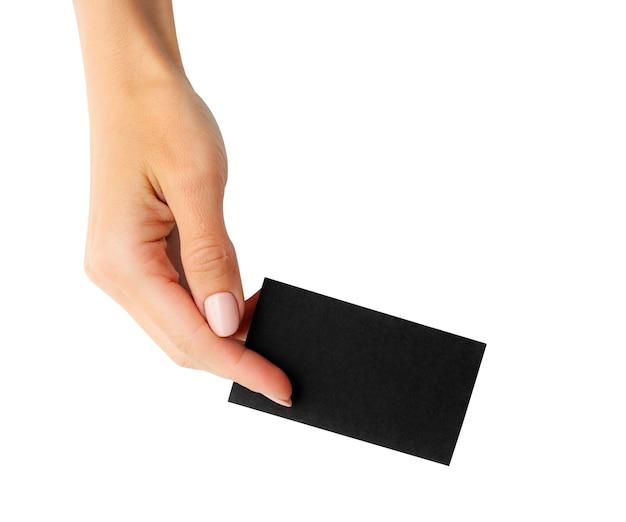 Czarna wizytówka w dłoni dziewczyny