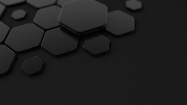Czarne, abstrakcyjne tło z sześciokątami. renderowanie 3d.