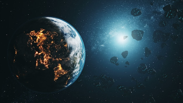 Czarne asteroidy latają przez oświetloną realistyczną planetę ziemię w niebieskim świetle gwiazd w przestrzeni kosmicznej. animacja 3d. koncepcja nauki i technologii. elementy tego produktu dostarczone przez nasa