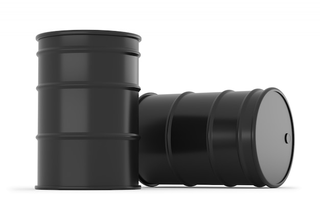 Czarne baryłki ropy na białym tle