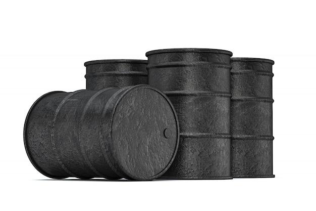 Czarne baryłki ropy naftowej na białym tle