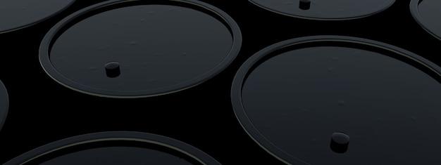 Czarne beczki z paliwem