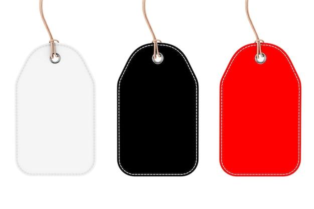 Czarne, białe i czerwone puste znaczniki makieta z ciągami na białym tle. renderowanie 3d