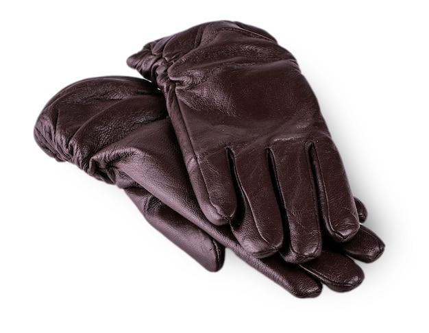 Czarne damskie rękawiczki na białym tle