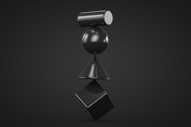 Czarne geometryczne kształty niestabilna konstrukcja na czarnym tle