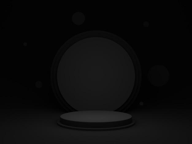 Czarne geometryczne podium 3d. ciemne tło.