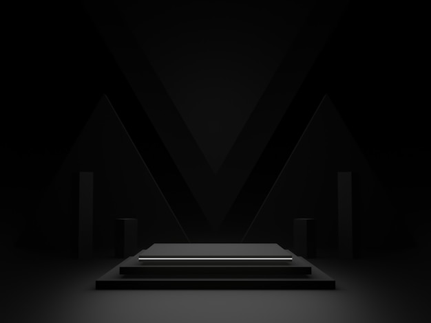 Czarne geometryczne podium 3d z białym neonowym światłem. ciemne tło.