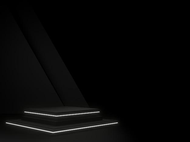 Czarne geometryczne podium na scenie i neonowe światło ciemne tło