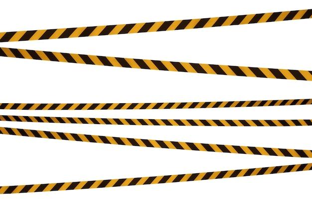 Czarne i żółte linie taśmy barierowej uniemożliwiają przejście.