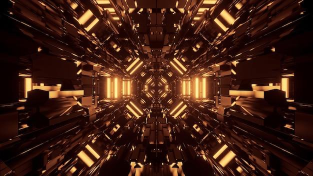 Czarne kosmiczne tło ze złotymi światłami laserowymi - idealne na tapetę cyfrową