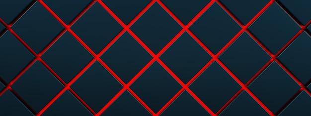 Czarne kostki na czerwonym tle podłogi, renderowanie 3d, koncepcja czerwonej lawy, obraz panoramiczny