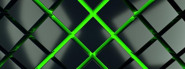 Czarne kostki na zielonym tle podłogi, renderowanie 3d, obraz panoramiczny