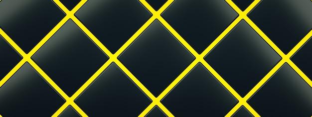 Czarne kostki na żółtym tle podłogi, renderowanie 3d, obraz panoramiczny