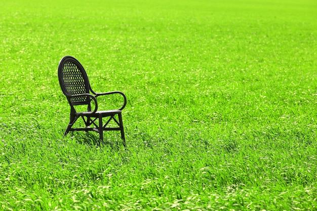 Czarne krzesło na polu pszenicy