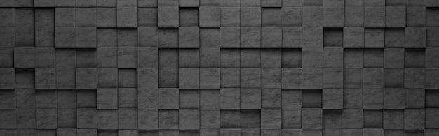 Czarne kwadraty 3d wzór tła