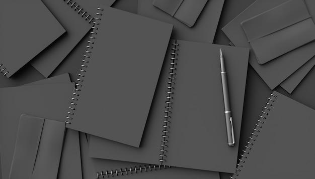 Czarne notebooki na czarnym tle, ilustracji 3d