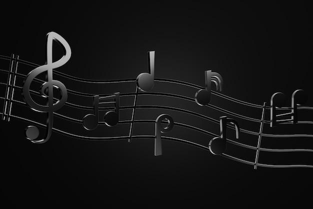 Czarne nuty i falowe linie muzyczne w tle ciemności. renderowanie 3d ilustracja. pojęcie rocka.