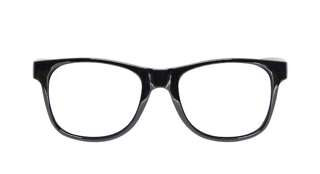 Czarne okulary na białym tle