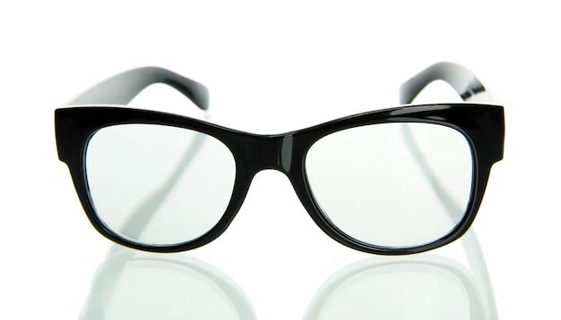 Czarne okulary, na białym tle