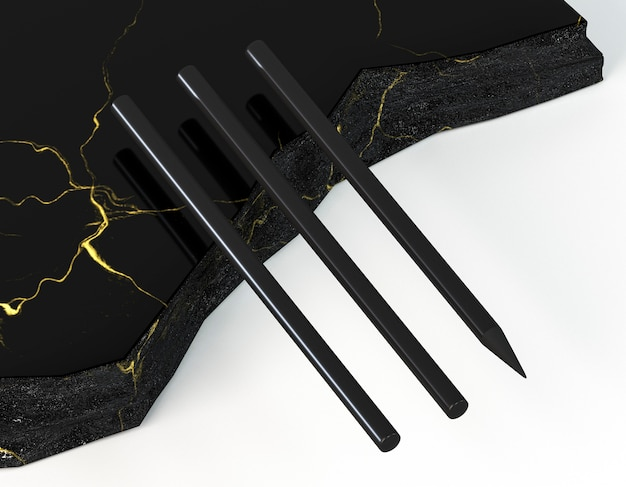 Czarne ołówki na eleganckim marmurze