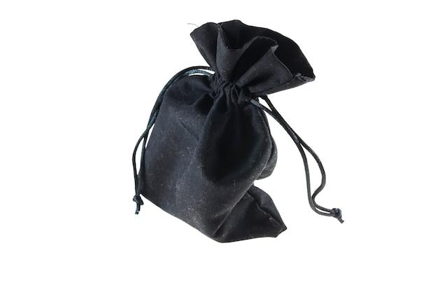 Czarne opakowanie worek sznurkiem na białym tle