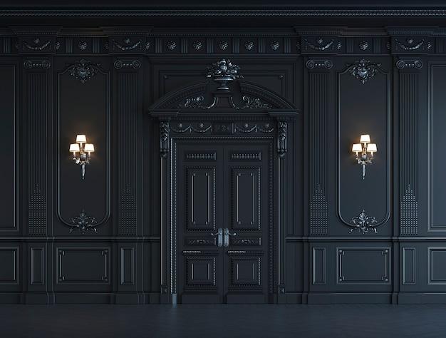 Czarne panele ścienne w klasycznym stylu z srebrzeniem. renderowania 3d