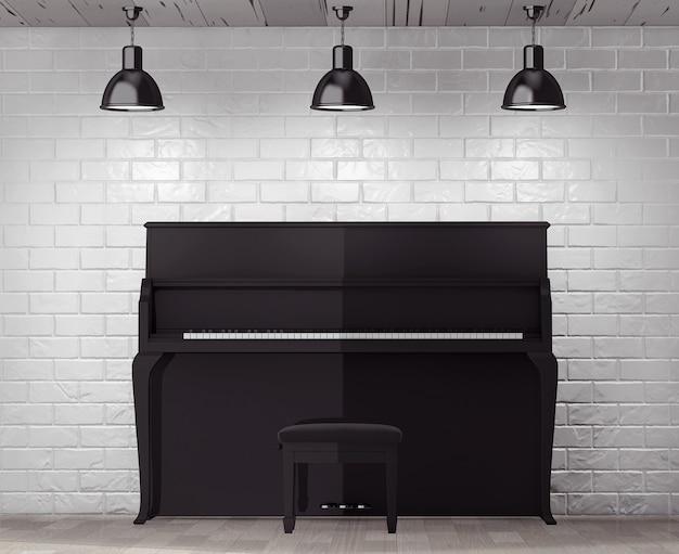 Czarne pianino przed ceglanym murem z ekstremalnym zbliżeniem blank frame